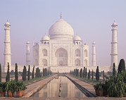Place Of Burial Prints - The Taj Mahal A White Marble Mausoleum Print by Dave and Les Jacobs