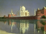 Reflecting Water Painting Metal Prints - The Taj Mahal Metal Print by Vasili Vasilievich Vereshchagin