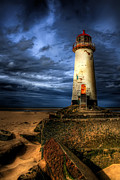 Coastal Digital Art Framed Prints - The Talacre Lighthouse Framed Print by Adrian Evans