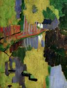 Post-impressionism Paintings - The Talisman or The Swallowhole in the Bois dAmour Pont Aven by Paul Serusier
