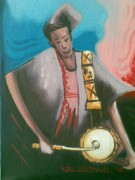 Talking Painting Prints - The Talking Drum Print by Olawale Babatunde