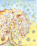 Mixed Media Drawings Prints - The Talking Tree Print by Jennifer Lommers