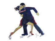 Ballroom Drawings Posters - The Tango Poster by Mike Jory