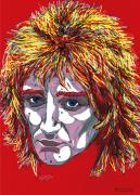 Stewart Drawings Posters - The Tartan of Rod Stewart Poster by Suzanne Gee