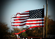 Patriotic Scenes Posters - The Tattered Flag Poster by Lisa Moore