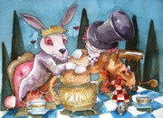 Mad Hatter Posters - The Tea Party Poster by Lucia Stewart