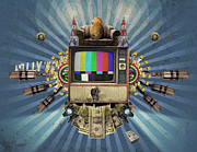 Microphone Digital Art Prints - The Television Will Not Be Revolutionised Print by Rob Snow