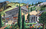 Greek Temple Posters - The Temple of Apollo at Delphi Poster by Giovanni Ruggero
