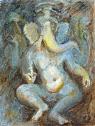 Ganesh Painting Posters - The Temple of Love Ganesh Poster by Ann Radley