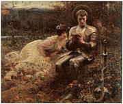 The Temptation Of Sir Percival Prints - The Temptation of Sir Percival Print by Arthur Hacker