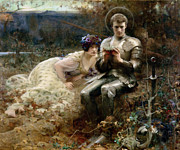 Couples Paintings - The Temptation of Sir Percival by Arthur Hacker
