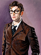 Oil Paint Framed Prints - The Tenth Doctor and his TARDIS Framed Print by Emily Jones