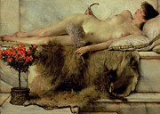 Woman Relaxing Framed Prints - The Tepidarium Framed Print by Sir Lawrence Alma-Tadema