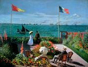 Flag Paintings - The Terrace at Sainte Adresse by Claude Monet