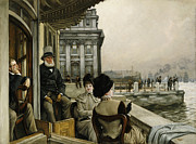 Hats Framed Prints - The Terrace of the Trafalgar Tavern Greenwich Framed Print by James Jacques Joseph Tissot