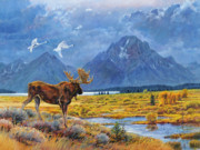 Wyoming Painting Posters - The Teton Trio Poster by Steve Spencer