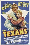 1930s Poster Art Photos - The Texans, Randolph Scott, Joan by Everett