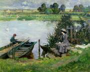 Fishing Rod Prints - The Thames at Benson Print by Albert Chevallier Tayler