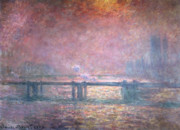 Charing Cross Framed Prints - The Thames at Charing Cross Framed Print by Claude Monet