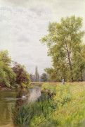 Reeds Painting Metal Prints - The Thames at Purley Metal Print by William Bradley