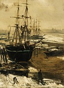 Whistler Painting Posters - The Thames In Ice Poster by Pg Reproductions