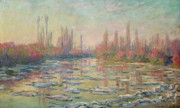 Mist Painting Posters - The Thaw on the Seine Poster by Claude Monet