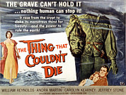 1950s Poster Art Framed Prints - The Thing That Wouldnt Die, Andra Framed Print by Everett