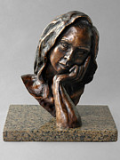 Female Sculpture Metal Prints - The Thinker Metal Print by Eduardo Gomez