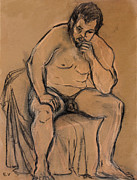 Seated Nude Drawing Prints - The Thinker Print by Ethel Vrana