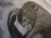 Drawing Pastels Originals - The Thinker by Paul Horton