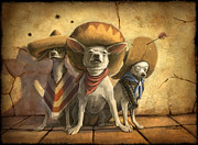 Dogs Digital Art Prints - The Three Banditos Print by Sean ODaniels