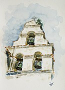 Spanish House Paintings - The three-bell campanario at Mission San Juan Bautista  by Zaira Dzhaubaeva