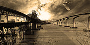 Sepia Photos Posters - The Three Benicia-Martinez Bridges . A Journey Through Time . Sepia Poster by Wingsdomain Art and Photography