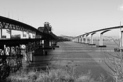 Railroads Photos - The Three Benicia-Martinez Bridges Across The Carquinez Strait in California . 7D10426 . black and w by Wingsdomain Art and Photography