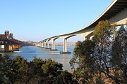 Bay Bridge Photos - The Three Benicia-Martinez Bridges Across The Carquinez Strait in California . 7D10440 by Wingsdomain Art and Photography