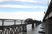 Railroads Photos - The Three Benicia-Martinez Bridges in California - 5D18626 by Wingsdomain Art and Photography