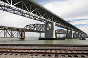 Railroads Framed Prints - The Three Benicia-Martinez Bridges in California - 5D18662 Framed Print by Wingsdomain Art and Photography