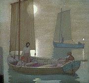 Fishing Boat Paintings - The Three Brothers by Frederick Cayley Robinson
