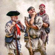 Reenactor Framed Prints - The Three Frontiersmen  Framed Print by Randy Steele