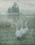 Winter Landscape Paintings - The Three Geese by Steve Mitchell