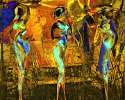 Yellow Mixed Media Metal Prints - The three graces Metal Print by Anne Weirich
