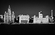 Sky Line Art - The Three Graces Building And Mersey Ferry Terminal On Liverpool Waterfront Shoreline Merseyside by Joe Fox