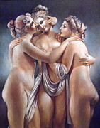 Greek Sculpture Painting Prints - The Three Graces Print by Geraldine Arata