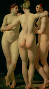 Nudes Posters - The Three Graces Poster by Jean Baptiste Regnault