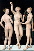 Fine Art  Of Women Painting Prints - The Three Graces Print by Lucas Cranach the Elder