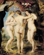 Peter Paul (1577-1640) Paintings - The Three Graces by Peter Paul Rubens