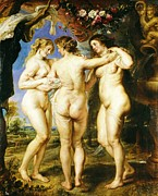 Rubens Painting Prints - The Three Graces Print by Pg Reproductions