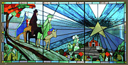 Religious Glass Art Posters - The Three Kings Arriving Porta Coeli. Poster by Dorcas Pabon