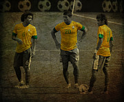Kicking Prints - The Three Kings Marcelo Hulk Neymar Os Tres Reis  Print by Lee Dos Santos