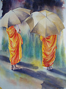 Barefeet Prints - The Three Monks Print by Carol McLagan
